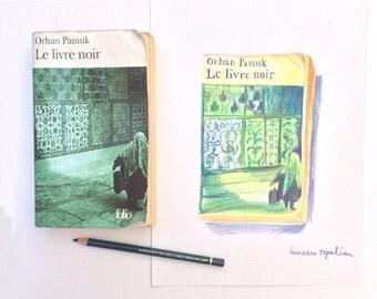 ORIGINAL DRAWING Book cover Orhan Pamuk-color pencil drawing - book drawing - book lovers gift -turkish writer