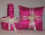 Fuchsia Hot Pink Satin With Ivory Cream Ribbon Trim Flower Girl Basket And Ring Bearer Pillow Set 1