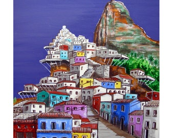 FAVELA PAINTING 2, Rio de Janeiro, Latin America,Fantasy land,Colorful, Original illustration artist Print Wall Art. Free Shipping in USA.