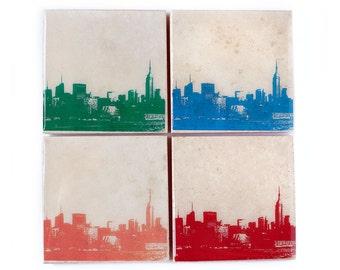 New York Skyline Stone Coasters Set of 4 (Orange, Green, Blue, & Red) City Skyline Home Decor