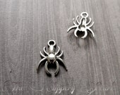 Spider Charms Antiqued Silver Spider Pendants Halloween Charms Spooky Charms Creepy Spider Charms Arachnid Charms 10 pieces