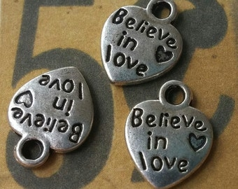 Silver Charms Heart Charms Antiqued Silver Word Charms Quote Charms Believe in Love 50 pieces