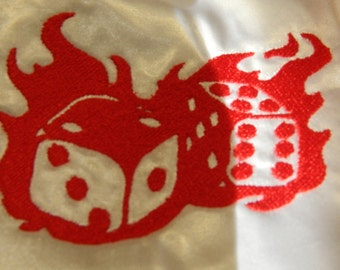 Flaming Dice Embroidered Drawstring Bag