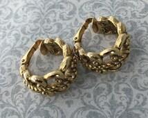 Gold Braided Hoop Earrings Ornate Open Weave Avon Clip-on Vintage Jewelry