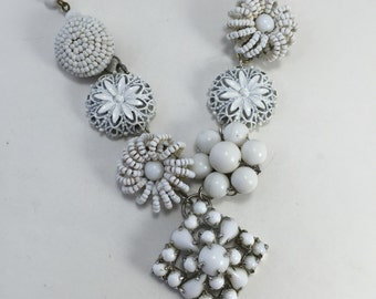 Assemblage Necklace Milk glass Flowers White Floral Statement Pendant Reclaimed Vintage Jewelry