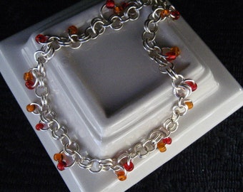 Non Tarnish Silver Orange and Red Salsa Summer Charm Ankle Bracelet