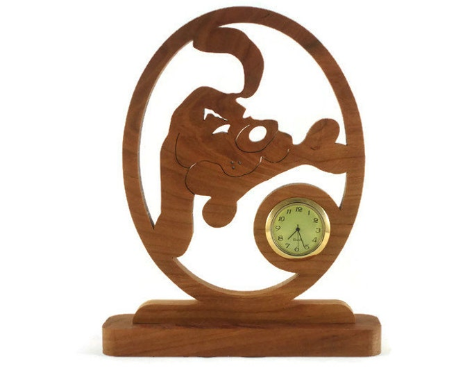 Dog With Doggy Bone Desk Or Shelf Clock Handmade From Cherry Wood