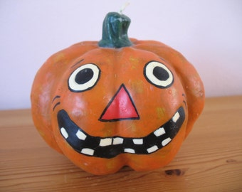 Vintage Halloween Pumpkin Candle, Jack O Lantern