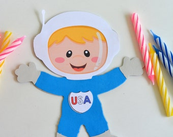 Astronaut boy craft kit for kids birthday party favor decoration arts and crafts stocking stuffer or scrapbooking
