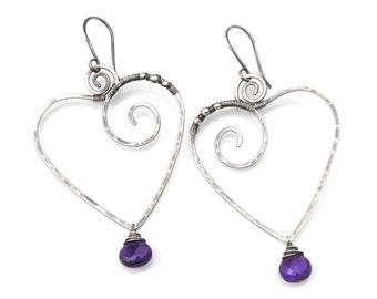 Heart Nouveau Earrings, Large Oxidized Silver Heart Earrings, Amethyst Dangles, Big Boho Heart Dangle Earrings