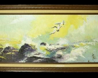 Vtg Original H. Patter Textured Oil Painting Seagulls Crashing Waves On Rocks