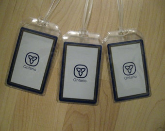 Ontario Canada Luggage Tags - Vintage Repurposed Playing Card Name Tag Set (3)