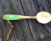 Trail spoon washed green handle with AT symbol