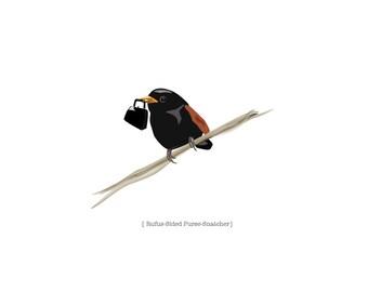 Rufus-Sided Purse-Snatcher - Bird Art Print, Fantasy