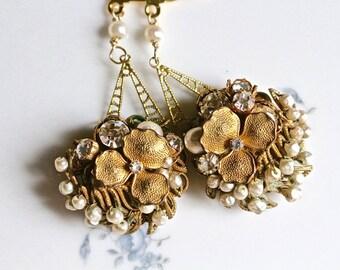 Wedding Earrings, Bridal Earring, Reclaimed Vintage, Pierced, Flower Cluster, Rhinestones, White pearls, Gold, Jennifer Jones, OOAK, Corsage