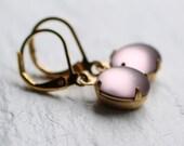Dusky Purple Earrings ... Frosted Lilac Mauve Matte Vintage Glass