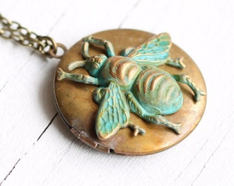 Bee Locket ... Vintage Pendant Necklace Handpainted Long Pendant