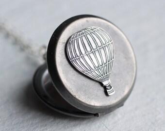 Hot Air Balloon Locket ... Antique Silver Vintage Pendant Necklace