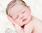 Vintage headband, Baby headband, newborn headband, trim headband, adult headband, and photo prop dainty rhinestone flower headband