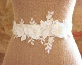 Lace and Flower Bridal Sash,Ivory and Silver Sash, Bridal Accessories, Ivory Sash