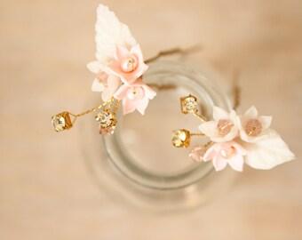Bridal hair pins, blush pink hair pins, blush flowers - *Esme hair pins*