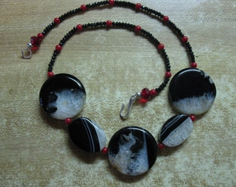 Necklace: drusy agate, black spinel, coral, sterling silver