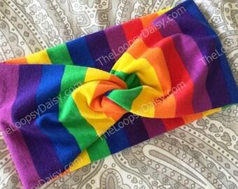 Rainbow Headband, Rainbow Baby, Knot Headband, Turban Headwrap, Rainbow Dress, Rainbow tutu, Rainbow Brite, Rainbow birthday party, Adult