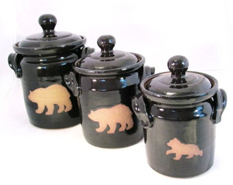 black bear kitchen accessories big canisters etsy 4649