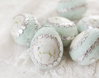 Spring Lamb Easter Egg - Green Spun Cotton Egg Decoration