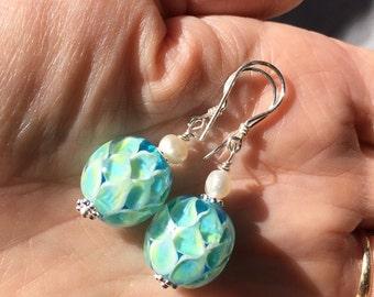 Lotus Earrings, Yoga Jewellery, Yoga Earrings, Lampwork Earrings, Yoga Jewelery,Lotus Blossom, Turquoise Lotus, Zen, Spiritual