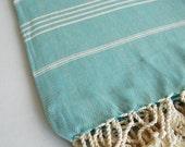 SALE 50 OFF/ Turkish Beach Bath Towel Peshtemal / Classic Style / Turquoise - White Striped / Bath, Beach, Spa, Swim, Pool Towels