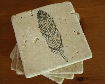 "Feather Decor Coasters Tribal Boho Drink Coasters 4"" x 4"" Tumbled Stone, Natural Stone, set of 4"
