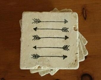 "Arrow Decor Coasters Drink Coasters 4"" x 4"" Tumbled Stone, Natural Stone, set of 4"