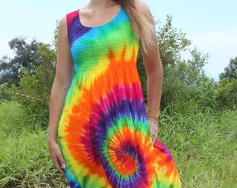 Tie Dye Rayon Tank Dress