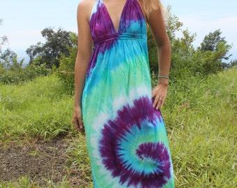 Tie dye long halter dress in blue purple green