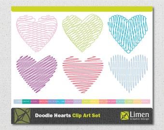 Doodle Heart Clip Art, Scribble Hearts Clipart, Doodle Clipart, Valentines Day, Heart Doodle, Heart Clipart, Hearts Clip Art, Scrapbooking