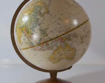 Vintage Repogle Globes 12 Inch Raised Relief World Globe - Made in USA - Classroom Homeschool Tool - Man Cave Decor