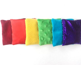 Sensory Touch Bags 6 Rainbow Contrasting Toss Toys, Cherry Stone Filling