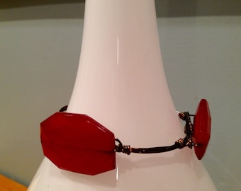 SALE!! Three Bead Crimson Red Wire Wrapped Bangle