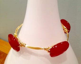 SALE!! Crimson Red Wire Wrapped Bangle
