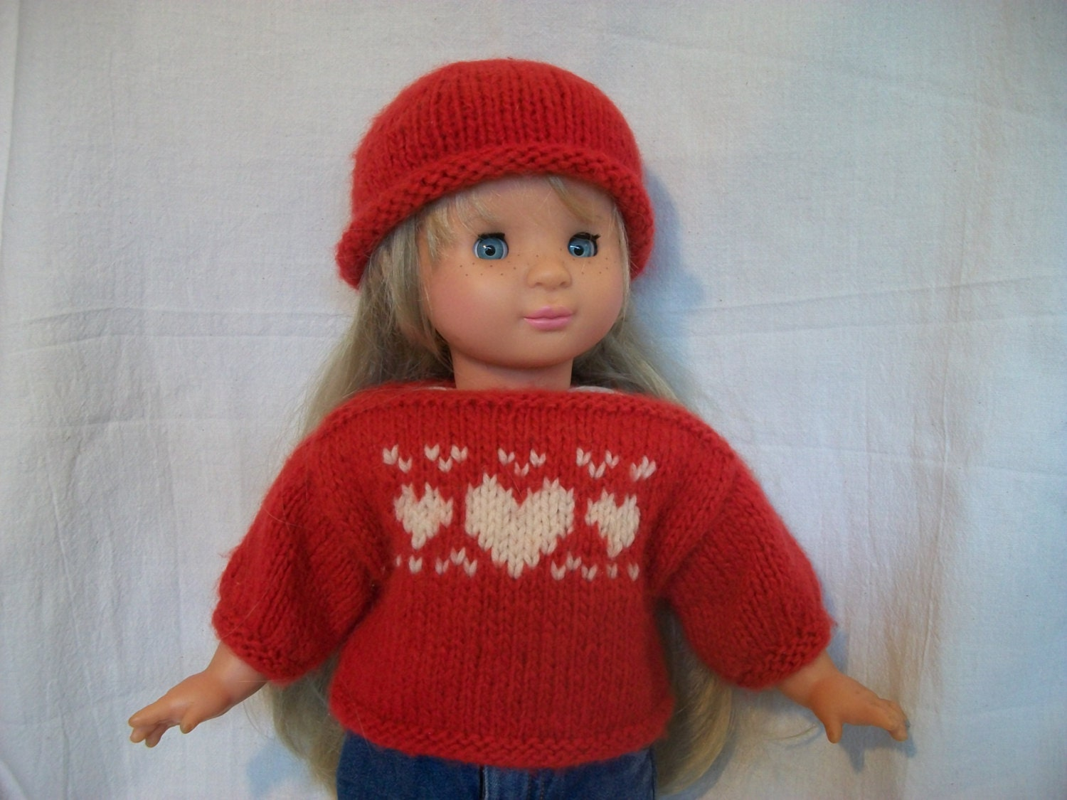 Knitting Pattern Dolls Hat : American Girl Doll Knitting Pattern Heart Sweater and Hat PDF