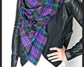 Blanket Scarf, Oversized Wrap Scarf, Shawl - plaid scarf, navy blue scarf
