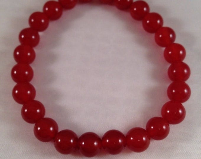Carnelian Deep Sienna Red 8mm Round Stretch Bead Bracelet with Sterling Silver Accent