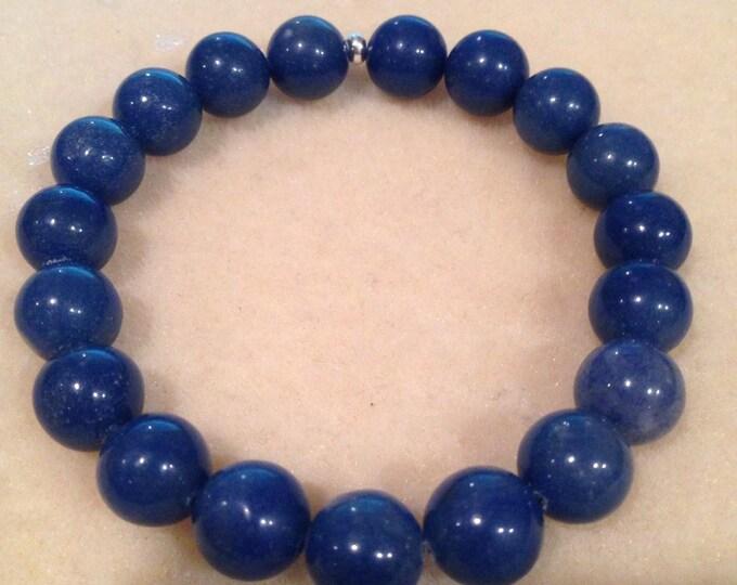Blue Aventurine Bracelet, Aventurine Bracelet, 10mm Bead Bracelet, Stretch Bracelet, Beaded Bracelet, Bead Bracelet, Blue Aventurine Jewelry