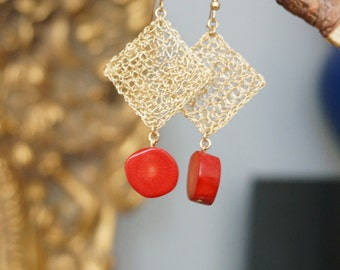 Earrings Crocheted Lace Goldfilled Wire Squares with Red Coral