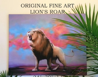 """ORIGINAL LION PAINTING Large Fine Art Acrylic on Stretched Canvas 24""""X30""""X1/2"""" Lion's Roar Realistic Detailed Ready to Hang Colorful"""