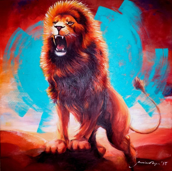 "LARGE LION PAINTING Original Fine Art ""Hear My Roar"" 24""X24""X3/4"" Modern Art Realistic Painting Acrylic on Stretched Canvas Signed and Dated"