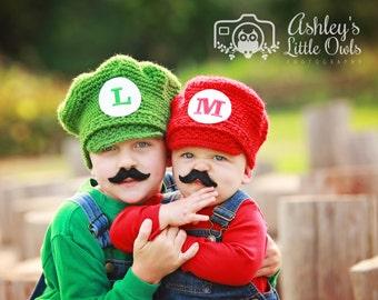 Mario or Luigi Hat, Halloween Costume, Newborn to Adult, Photo Prop, Mario Red, Luigi Green, Cartoon Characters, Mario Brothers Characters