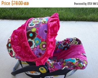 Fall SALE Purple pink green blue Flowers 3D rose accent Infant car seat cover -  Fuschia Pink minky and ruffle - Custom Order with FREE Stra