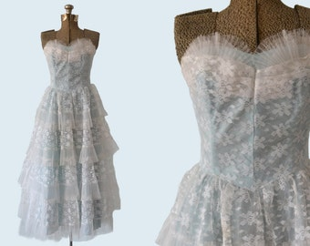 1950s Pale Blue Tiered Tulle Party Dress size M